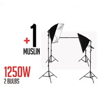 Full 50 x 70 CM Soft Box Studio Lights Continous Lighting Kit 2 x 125W 5500K bulbs + 1 Muslin 3m x 3m