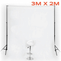 WHITE Photo Background Muslin 3m x 2m Cotton 170gsm