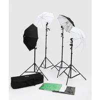 4 Piece Umbrella Lighting Kit + 3 (2m x 3m) Muslin + Background Stand