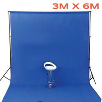 Photo Background 100% Cotton Muslin 3m x 6m Seamless Blue Pro range thick 170g pm2