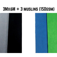Photo Background Muslin 150gsm (3m x 6m) 100% Cotton x 3