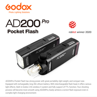 Godox AD200 Pro 200W 2.4G TTL 1/8000s HSS 2900mAh Double Head Pocket Flash Speedlite