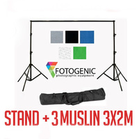 2.3m (H) x 3.05m (W) Backdrop Background Stand + 3 Muslin (3mx 2m)