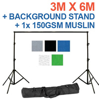 Background Backdrop Stand 2.8m (H) x 3.1 (W) + 100% Cotton Seamless 1 piece Muslin 150g pm2 3m x 6m Backdrop Sheets