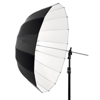 "53"" Deep Parabolic Black Outside White Internal Studio Photography Umbrella"