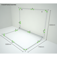EasiFrame Changable Fabric Cyclorama Frame System 2.5m wide x 3.8m Height - Frame Only