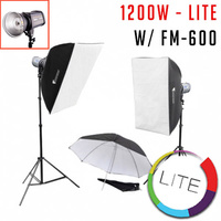 1200w 2 Studio LCD Strobe Light Kit LITE