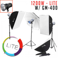 GM-400 x 3 1200w Studio Flash Strobe Kit LITE