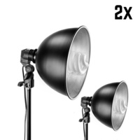 "2 Pack x 85W 11"" (28cm) Reflector Head with 130cm Light Stand"