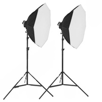 7 Bulb Head Octagon 100cm Soft Box Kit x 2 Lights 5950W