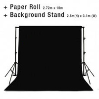 Background Backdrop Stand 2.8m (H) x 3.1 (W) + Black Photography Paper Roll Backdrop 2.72m x 10m