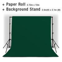 Background Backdrop Stand 2.8m (H) x 3.1 (W) + Forest Green Photography Paper Roll Backdrop 2.72m x 10m