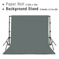 Background Backdrop Stand 2.8m (H) x 3.1 (W) + Charcoal Grey Photography Paper Roll Backdrop 2.72m x 10m