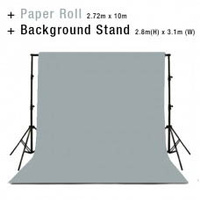 Background Backdrop Stand 2.8m (H) x 3.1 (W) + Light Grey Photography Paper Roll Backdrop 2.72m x 10m