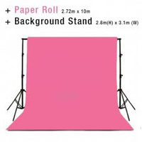 Background Backdrop Stand 2.8m (H) x 3.1 (W) + Hot Pink Photography Paper Roll Backdrop 2.72m x 10m