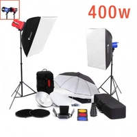 400W Colour Mini Studio FULL Flash Lighting Kit