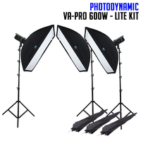 PhotoDynamic VA-PRO 600W x 3 Studio Flash Lighting Kit LITE Monoblock 1800W Flash Light Pack