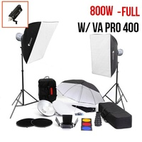 PhotoDynamic VA-Pro 400 x 2 Flash Kit FULL Monoblock Flash Lighting Package 800W