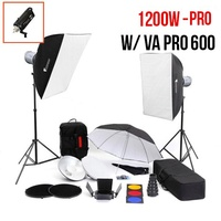 PhotoDynamic VA-Pro 600 x 2 Flash Kit FULL 600w High Quality Flash Monoblock Kit 1200W