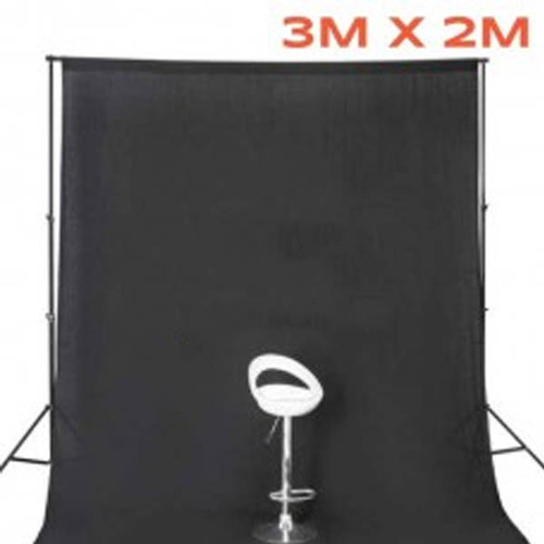BLACK Photo Background Muslin (3m x 2m) 100% Cotton 170gsm
