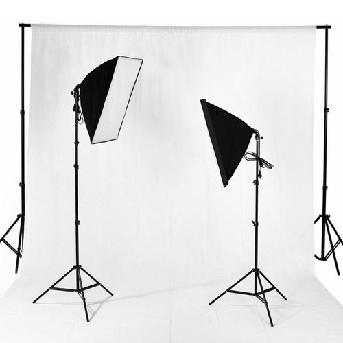 4 Head x 4 Bulbs Soft Box Lighting Kit 3400W Full Set + Background Stand + 1 Muslin