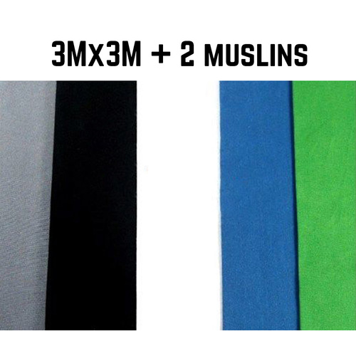 Photo Background Muslin (3m x 3m) 100% Cotton x 2