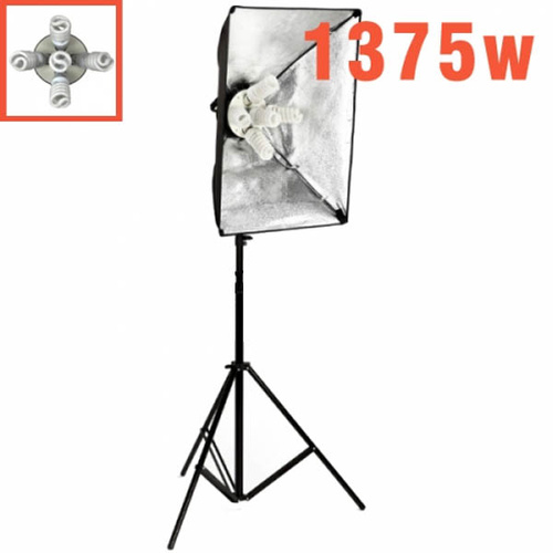 5 x 55W 5 Bulb Head Soft Box Lights Single Kit 1375W
