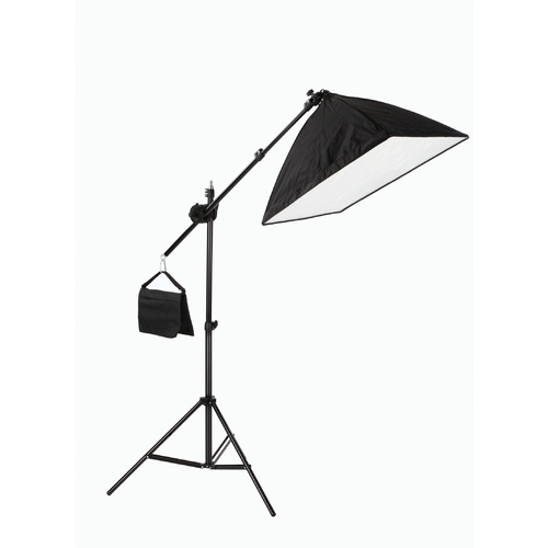 One Light Soft Box With Boom Stand Kit 50cm x 70cm 125w CFL 5500K Bulb Included