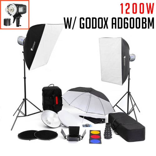 2 x Godox AD600BM Witstro Studio Flash Kit FULL