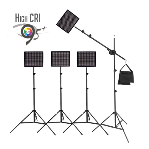 4 x HR672W High CRI Lighting Kit for Video and Photography with Boom