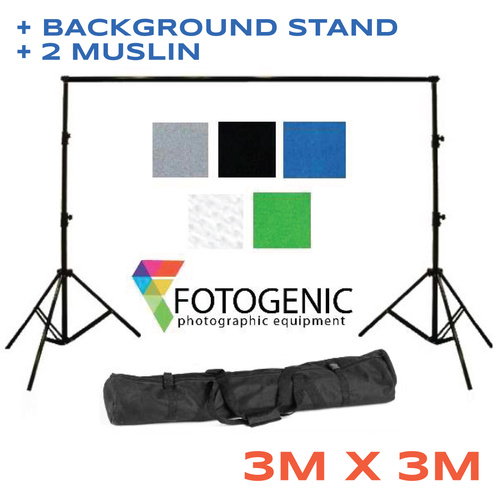 Backdrop Background Stand + 2 x ( 3m x 3m ) 150g pm2 Muslin