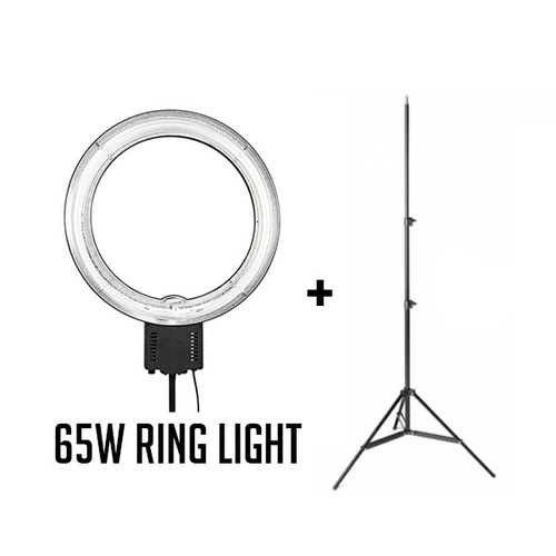 Fotoprime 65W Fluro Ring Light for Beauty Youtube Video Package includes 2.3m Studio Light Stand