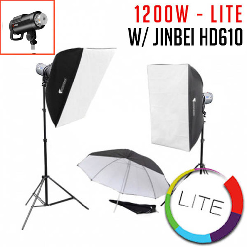 1200W 2x Jinbei HD610 Studio Flash Monoblock Kit - Lite