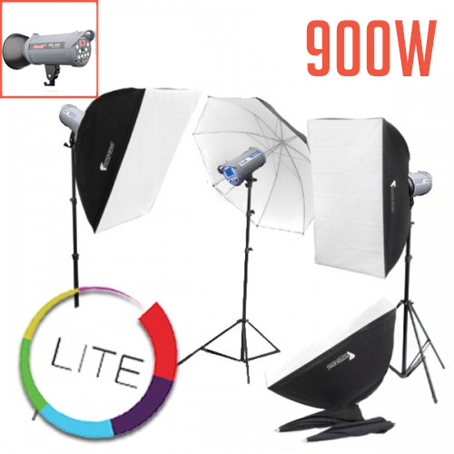 900w 3 Studio Flash Strobe Kit LITE