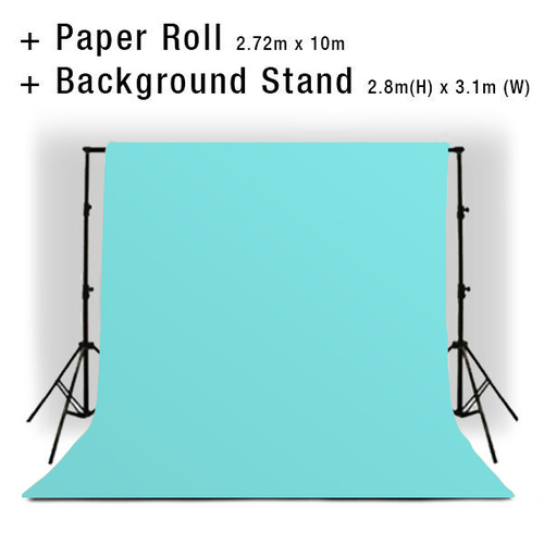 Background Backdrop Stand 2.8m (H) x 3.1 (W) + Brisk Blue Photography Paper Roll Backdrop 2.72m x 10m
