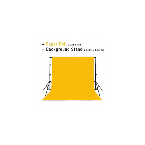 Background Backdrop Stand 2.8m (H) x 3.1 (W) + Deep Yellow Photography Paper Roll Backdrop 2.72m x 10m