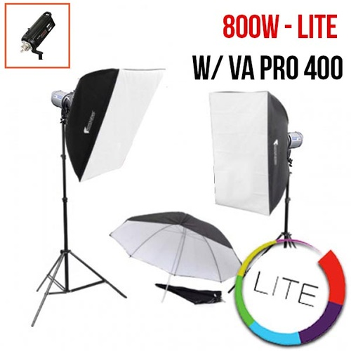 PhotoDynamic VA-Pro 400 x 2 Flash Kit LITE 800w 2 light Flash Monoblock Lighting Set